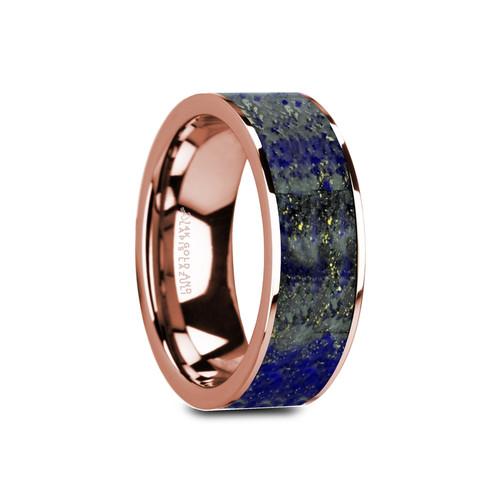Coyote Flat Polished 14k Rose Gold Band with Blue Lapis Lazuli Inlay at Rotunda Jewelers