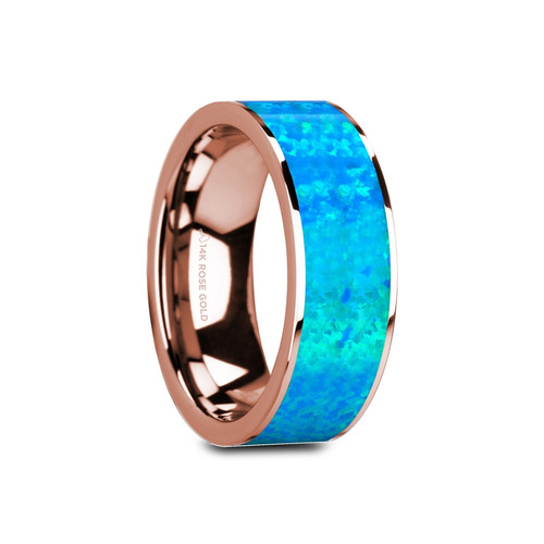 Florida Flat Polished 14k Rose Gold Band with Blue Opal Inlay at Rotunda Jewelers