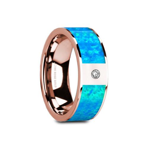 Lemon Flat Polished 14k Rose Gold Band with Blue Opal Inlay & White Diamond at Rotunda Jewelers