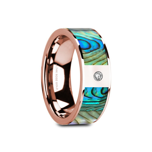 Darlingtonia 14k Rose Gold Wedding Band with Mother of Pearl Inlay & White Diamond at Rotunda Jewelers