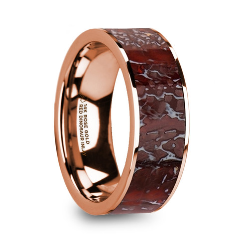 Peppermint Flat Polished 14k Rose Gold Band with Genuine Red Dinosaur Bone Inlay at Rotunda Jewelers