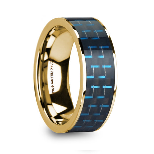 Bank Polished 14k Yellow Gold Men's Wedding Band with Black & Blue Carbon Fiber Inlay at Rotunda Jewelers
