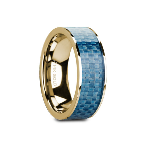 Native Flat Polished 14k Yellow Gold Band with Blue Carbon Fiber Inlay at Rotunda Jewelers