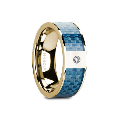 Davall 14k Yellow Gold Band with Blue Carbon Fiber Inlay & White Diamond at Rotunda Jewelers