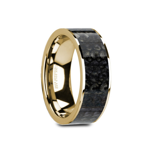 Valley Flat Polished 14k Yellow Gold Band with Genuine Blue Dinosaur Bone Inlay at Rotunda Jewelers