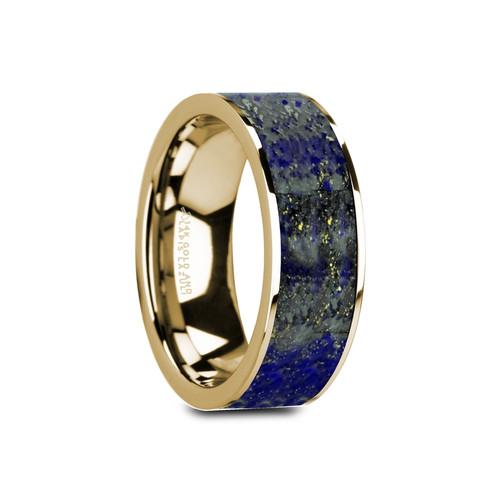Bower Flat Polished 14k Yellow Gold Band with Blue Lapis Lazuli Inlay at Rotunda Jewelers