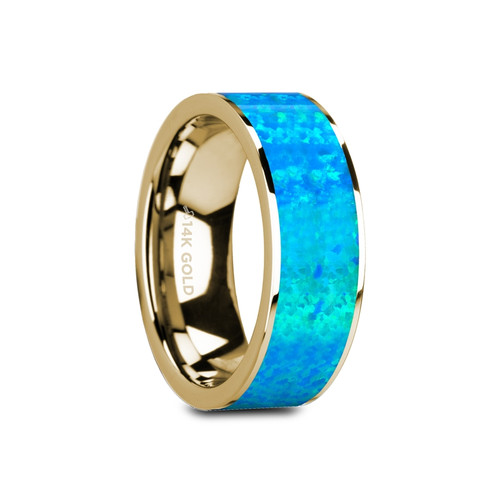 Poppy Flat Polished 14k Yellow Gold Band with Blue Opal Inlay at Rotunda Jewelers