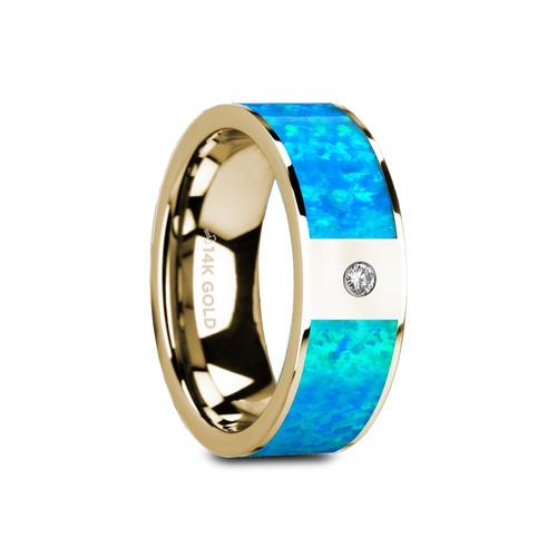 Serviceberry Flat Polished 14k Yellow Gold Band with Blue Opal Inlay & White Diamond at Rotunda Jewelers