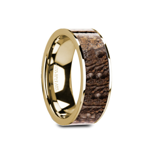 Native Flat Polished 14k Yellow Gold Band with Genuine Brown Dinosaur Bone Inlay at Rotunda Jewelers