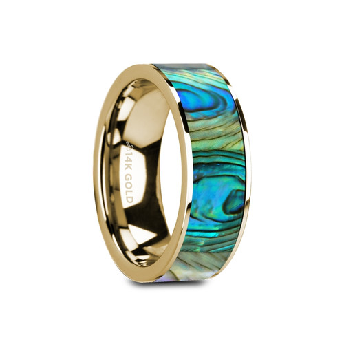 Verbena Flat Polished 14k Yellow Gold Band with Mother of Pearl Inlay at Rotunda Jewelers