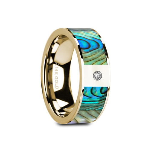 Mirbeck Flat Polished 14k Yellow Gold Band with Mother of Pearl Inlay & White Diamond at Rotunda Jewelers