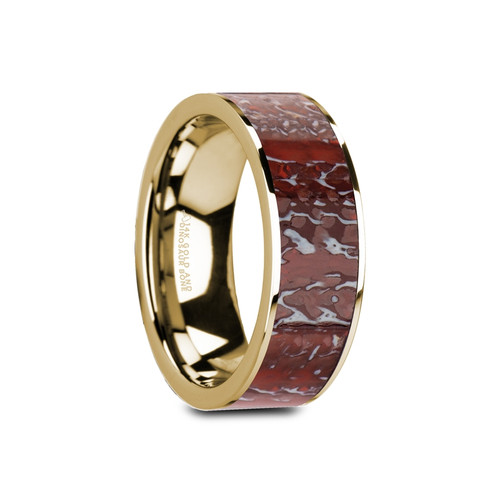 Island Flat Polished 14k Yellow Gold Band with Genuine Red Dinosaur Bone Inlay at Rotunda Jewelers