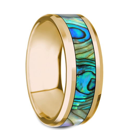 Dicotella Polished 14k Yellow Gold Band with Mother of Pearl Inlay at Rotunda Jewelers