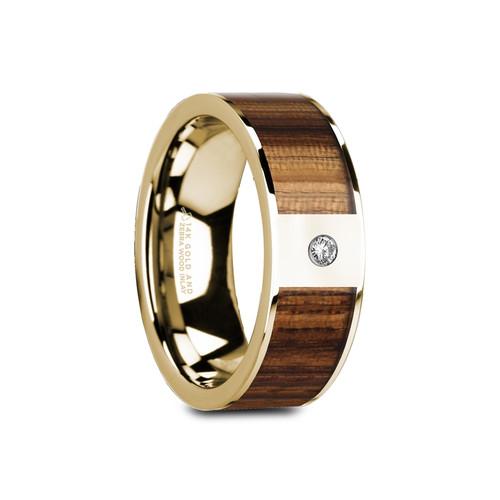 Kousa Flat Polished 14k Yellow Gold Band with Zebra Wood Inlay & White Diamond at Rotunda Jewelers