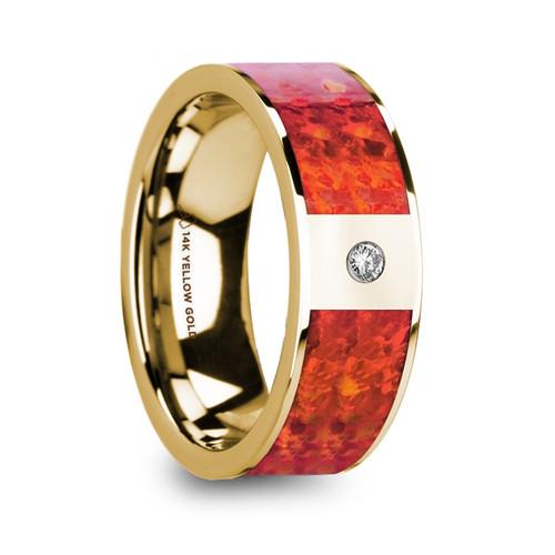 Aurumetti 14k Yellow Gold Wedding Band with Red Opal Inlay & Diamond at Rotunda Jewelers
