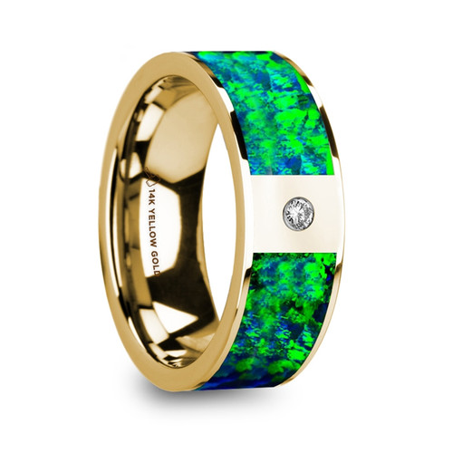 Plume Flat Polished 14k Yellow Gold Band with Emerald Green & Sapphire Blue Opal Inlay and Diamond at Rotunda Jewelers