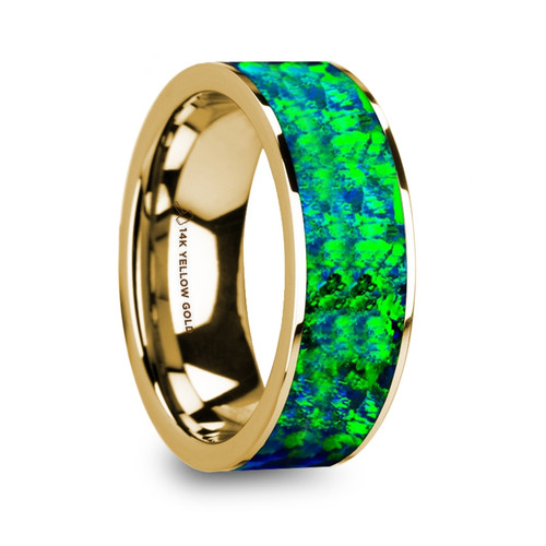 Snapdragon 14k Yellow Gold Wedding Band with Emerald Green & Sapphire Blue Opal Inlay at Rotunda Jewelers