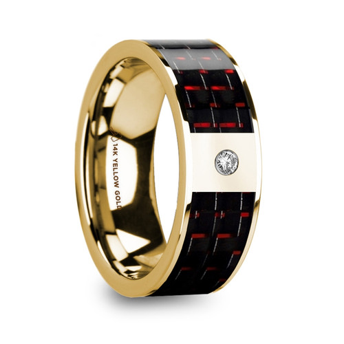 Tree Polished 14k Yellow Gold Wedding Band with Black & Red Carbon Fiber Inlay and Diamond at Rotunda Jewelers
