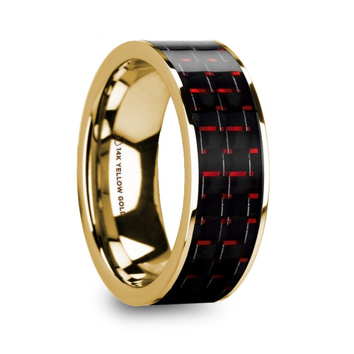 Coakum 14k Yellow Gold Wedding Band with Black & Red Carbon Fiber Inlay at Rotunda Jewelers
