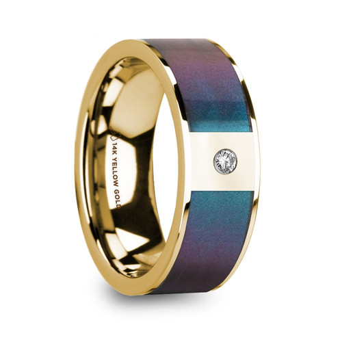 Blueberry 14k Yellow Gold Men's Band with Blue & Purple Color Changing Inlay and Diamond at Rotunda Jewelers