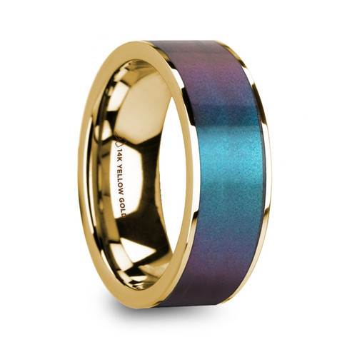 Hibiscus 14k Yellow Gold Men's Wedding Ring with Blue & Purple Color Changing Inlay at Rotunda Jewelers