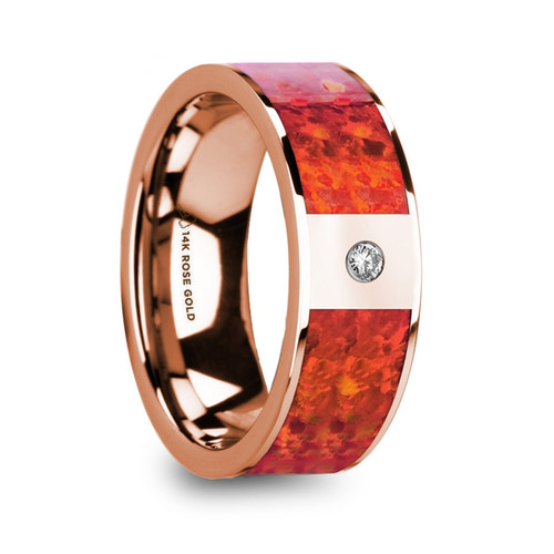 Muscari 14k Rose Gold Men's Wedding Band with Red Opal Inlay & Diamond at Rotunda Jewelers