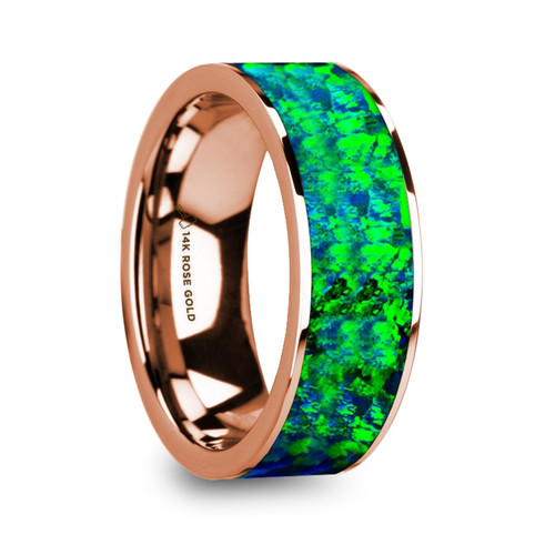 Burdock Men's 14k Rose Gold Wedding Band with Green & Blue Opal Inlay at Rotunda Jewelers