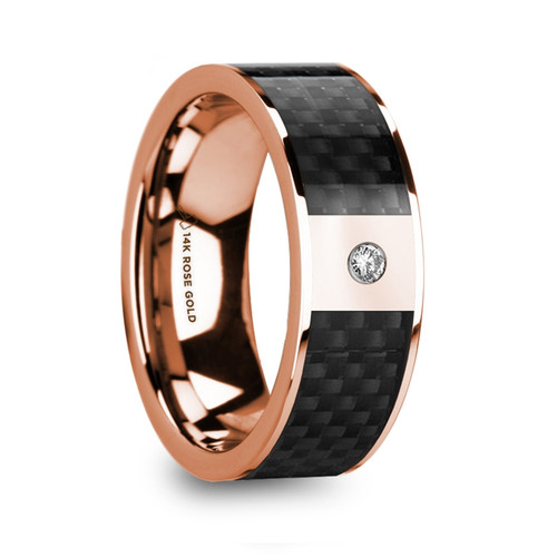Lavender 14k Rose Gold Wedding Band with Black Carbon Fiber Inlay & Diamond Accent at Rotunda Jewelers