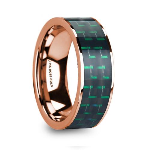 Amaryllis 14k Rose Gold Men's Polished Wedding Band with Black & Green Carbon Fiber Inlay at Rotunda Jewelers