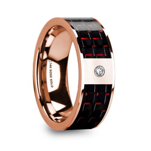 Boxelder 14k Rose Gold Men's Wedding Band with Red & Black Carbon Fiber Inlay and Diamond at Rotunda Jewelers