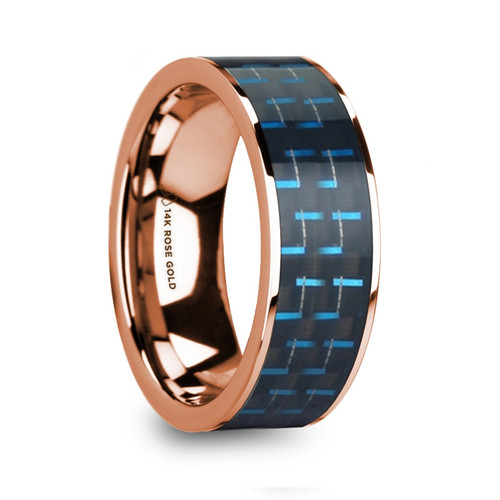 Herb 14k Rose Gold Wedding Ring with Black & Blue Carbon Fiber Inlay at Rotunda Jewelers