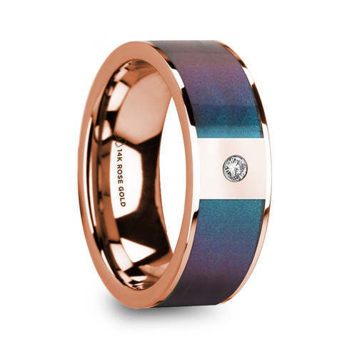 Petunia 14k Polished Rose Gold Wedding Band with Blue & Purple Color Changing Inlay and Diamond at Rotunda Jewelers