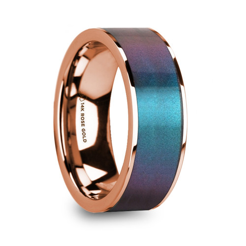 Upland 14k Rose Gold Men's Wedding Ring with Blue & Purple Color Changing Inlay at Rotunda Jewelers