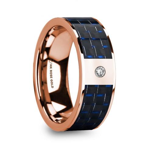 Hedera 14k Rose Gold Men's Wedding Band with Blue & Black Carbon Fiber Inlay and Diamond at Rotunda Jewelers