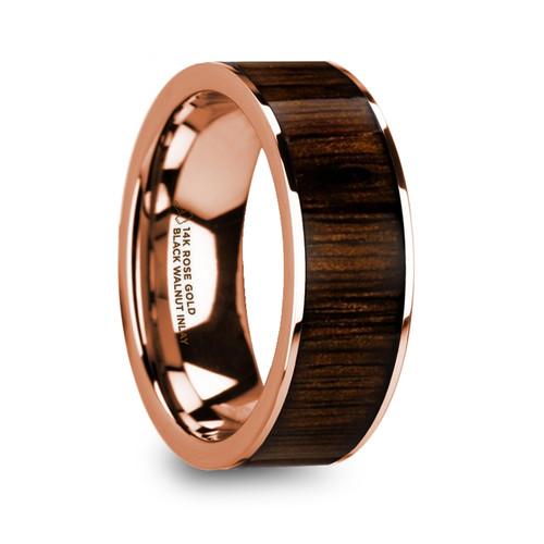 Diascia 14k Rose Gold Men's Band with Black Walnut Wood Inlay at Rotunda Jewelers