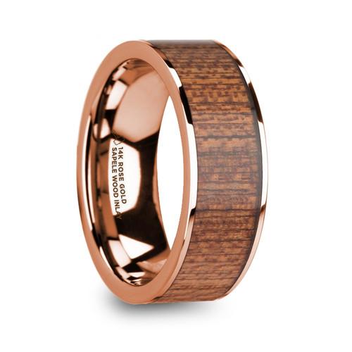 Gonoleta 14k Rose Gold Men's Wedding Band with Sapele Wood Inlay at Rotunda Jewelers