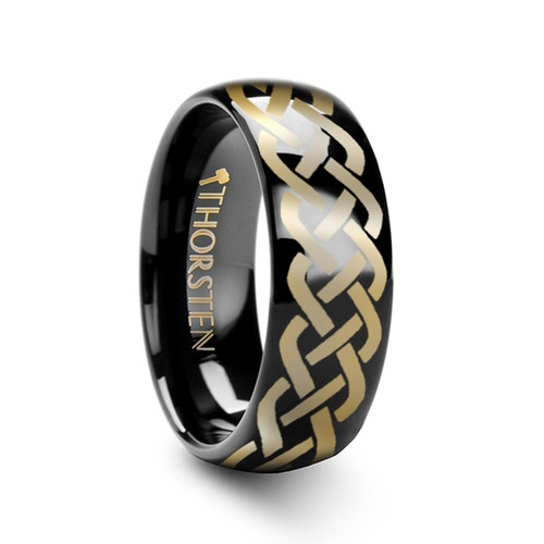 Chrysanthemum Polished Domed Black Tungsten Band with Celtic Knot Design at Rotunda Jewelers
