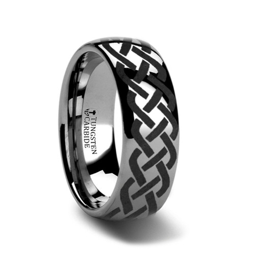 Atropa Domed Tungsten Band with Celtic Knot Design at Rotunda Jewelers