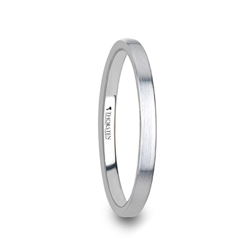 Chigger Flat Style Women's White Tungsten Carbide Band with Brushed Finish at Rotunda Jewelers