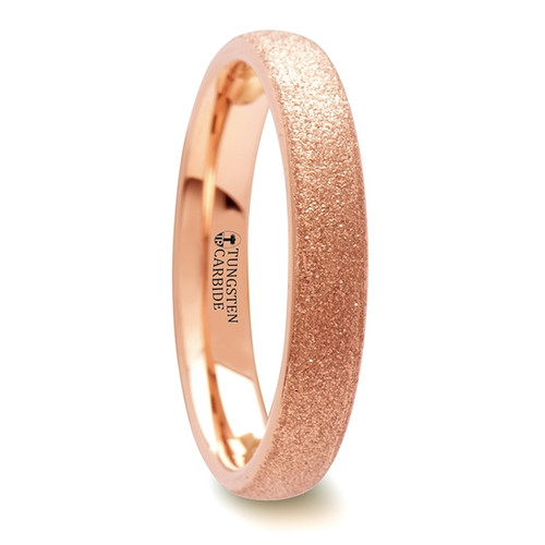 Wintercress Domed Tungsten Carbide Band with Rose Gold Plating and Sandblasted Crystalline Finish at Rotunda Jewelers