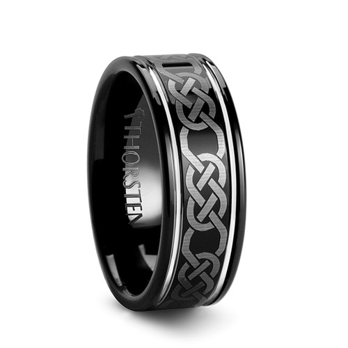 Candytuft Black Tungsten Carbide Band with Celtic Pattern at Rotunda Jewelers