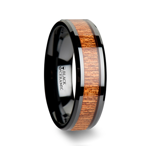Chestnut Black Ceramic Wedding Band with African Sapele Wood Inlay at Rotunda Jewelers