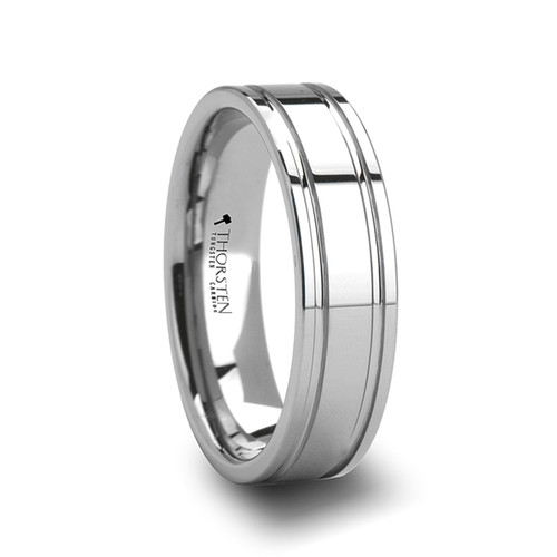 Bush Tungsten Carbide Band with Dual Offset Grooves at Rotunda Jewelers