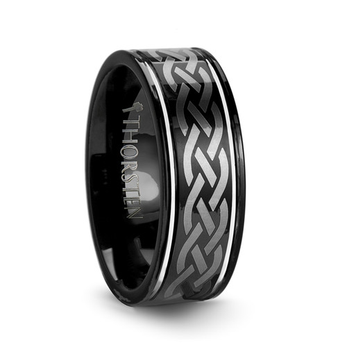 Gall Black Tungsten Carbide Band with Celtic Design at Rotunda Jewelers