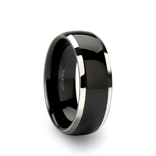 Amaranthus Domed Black Ceramic with Tungsten Inlay Ring at Rotunda Jewelers
