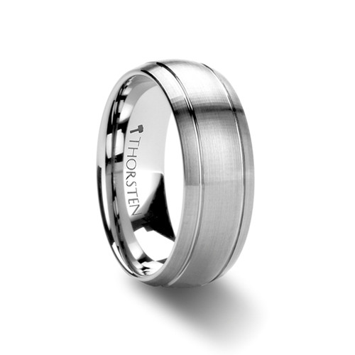 Bellflower Brushed Domed Tungsten Carbide Band with Dual Grooves at Rotunda Jewelers