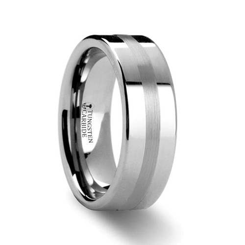 Carnation Platinum Inlay Pipe Cut Tungsten Carbide Ring at Rotunda Jewelers