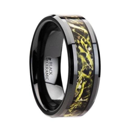 Goldenrod Black Ceramic Wedding Band with Green Marsh Camouflage Inlay at Rotunda Jewelers
