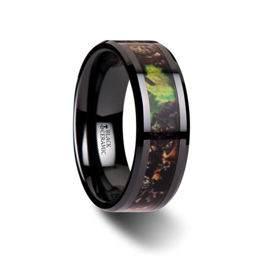 Hesperis Realistic Tree Camouflage Black Ceramic Wedding Band with Green Leaves at Rotunda Jewelers