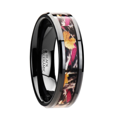 Knotweed Realistic Tree Camouflage Black Ceramic Wedding Band with Real Pink Oak Leaves at Rotunda Jewelers